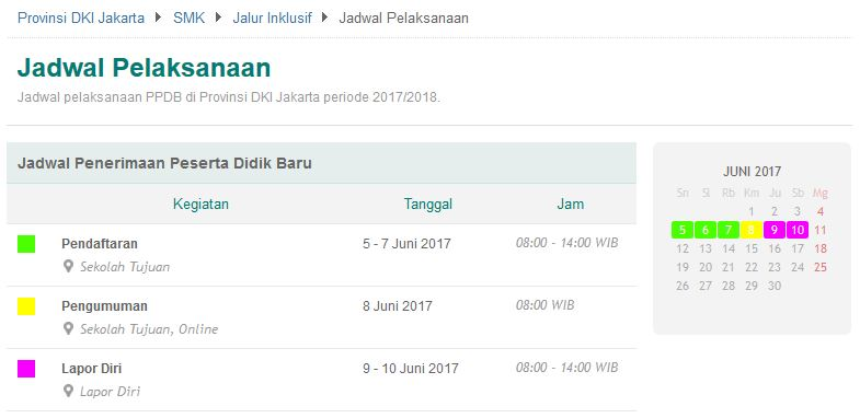 Jadwal Jalur Inklusif